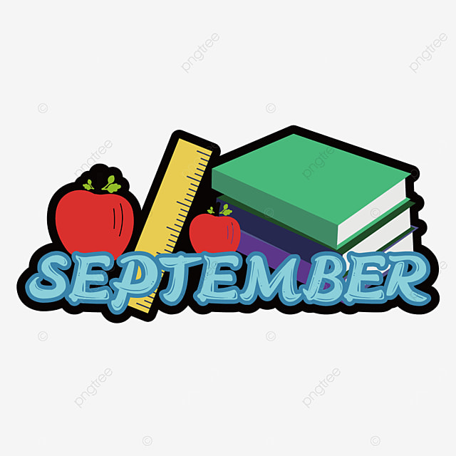 apple and books decorative stroke font september clipart svg