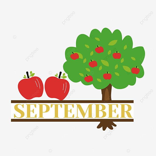 apple tree illustration september clipart svg