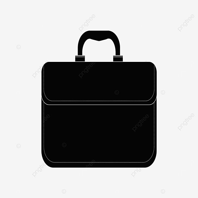 black briefcase with dotted line clipart