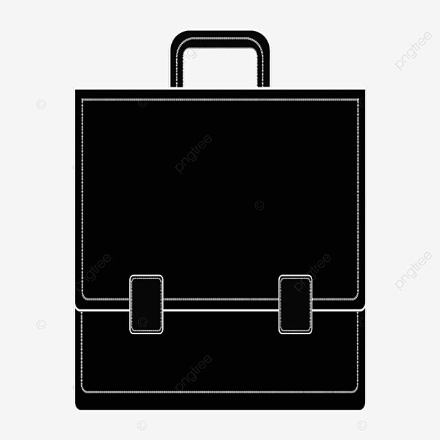 black briefcase with stitches clipart