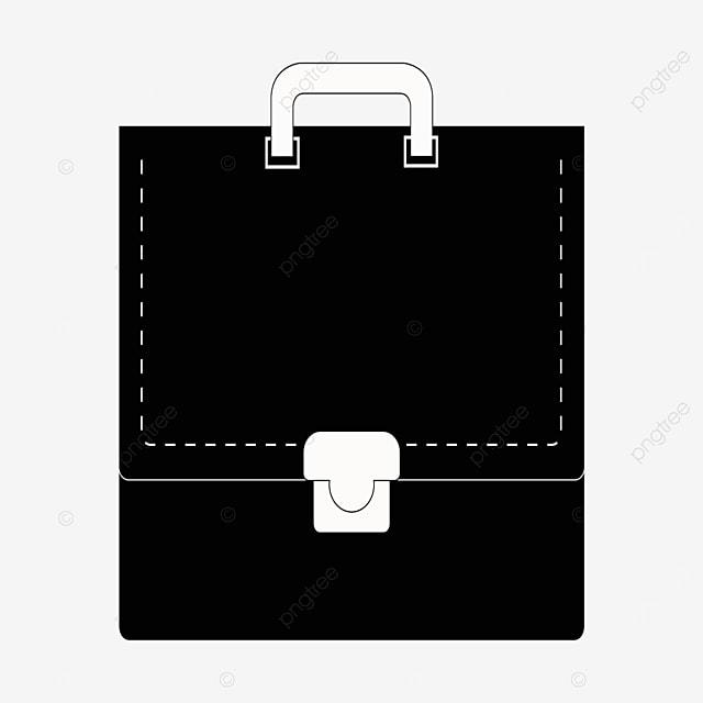 black white handle white button briefcase clip art