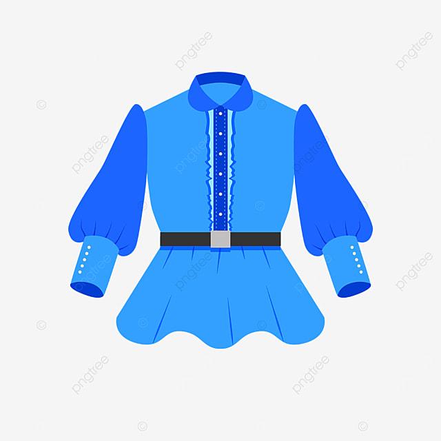 blue female shirt with belt clip art