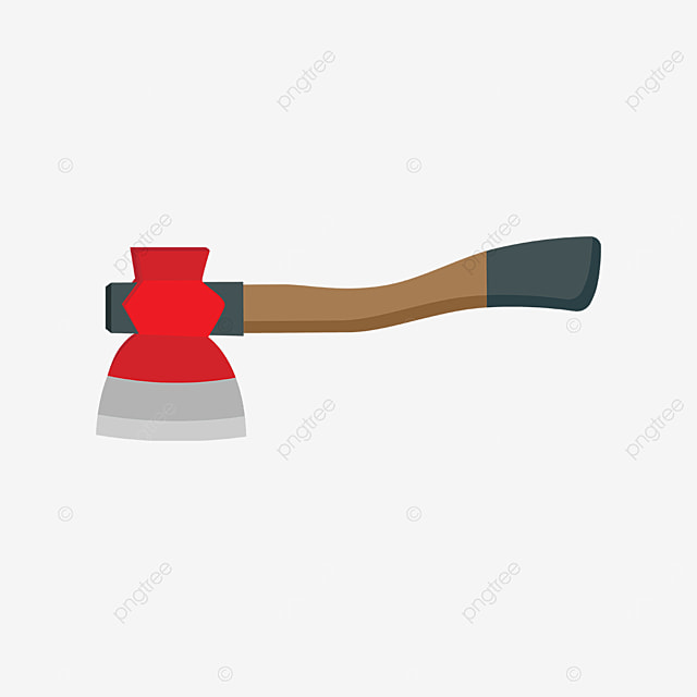 brown axe with wooden handle clip art