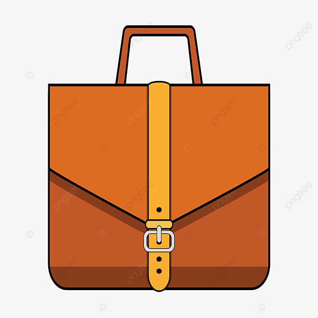 brown traditional buckle briefcase clipart