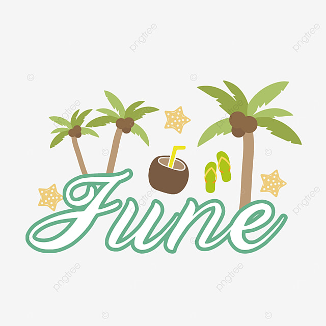 coconut tree and coconut decoration june clipart svg
