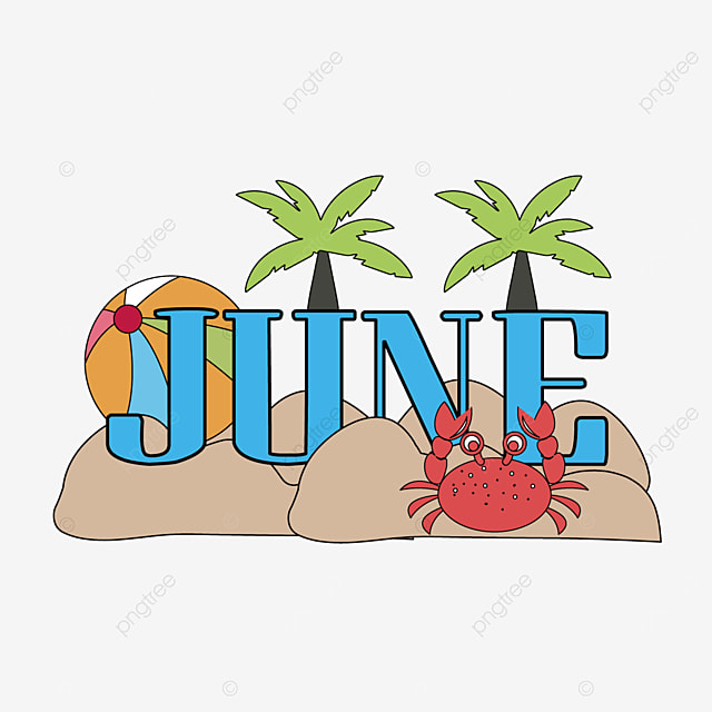 coconut tree and crab decoration june clipart svg