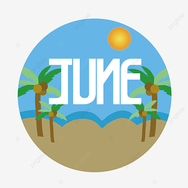 coconut tree and ocean wave decoration june clipart svg