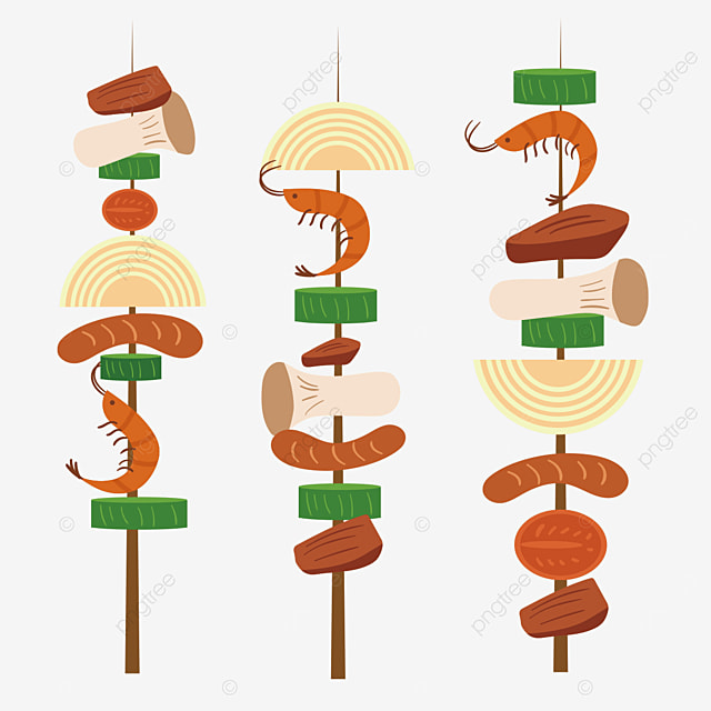 colorful skewers barbecue clipart