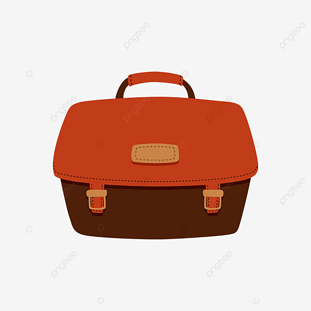 cute red brown briefcase clipart