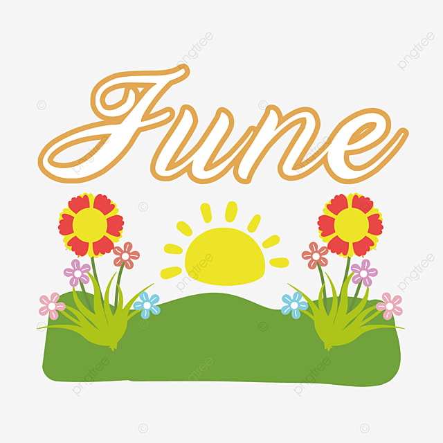 green field flowers and sun june clipart svg