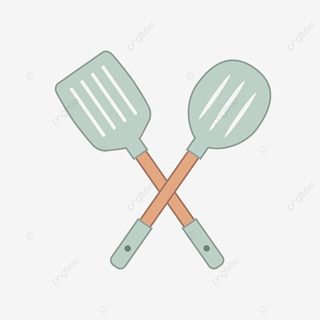 light green cute spatula clipart