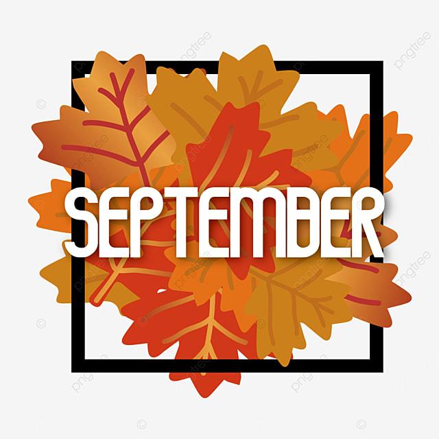 maple leaf and black border september clipart svg