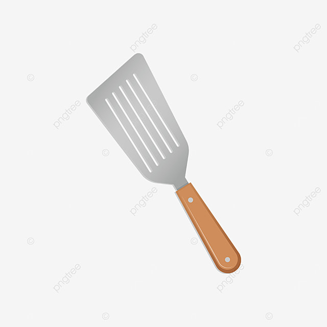 metal spatula with wooden handle clip art