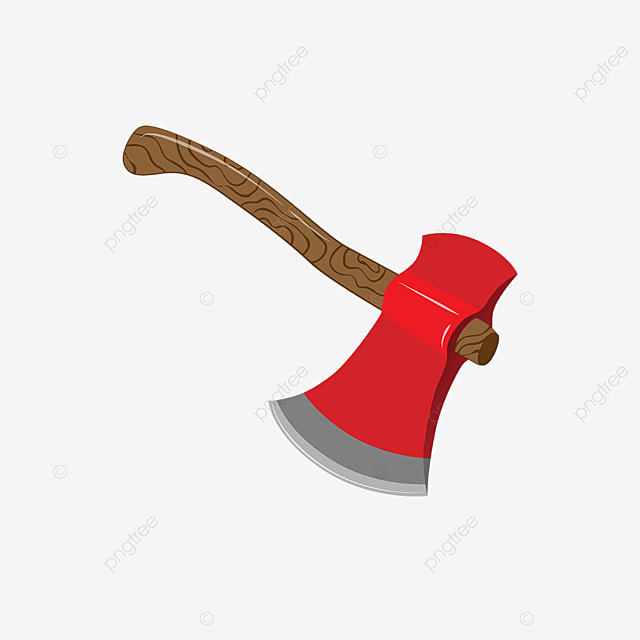red axe with brown wooden handle clip art