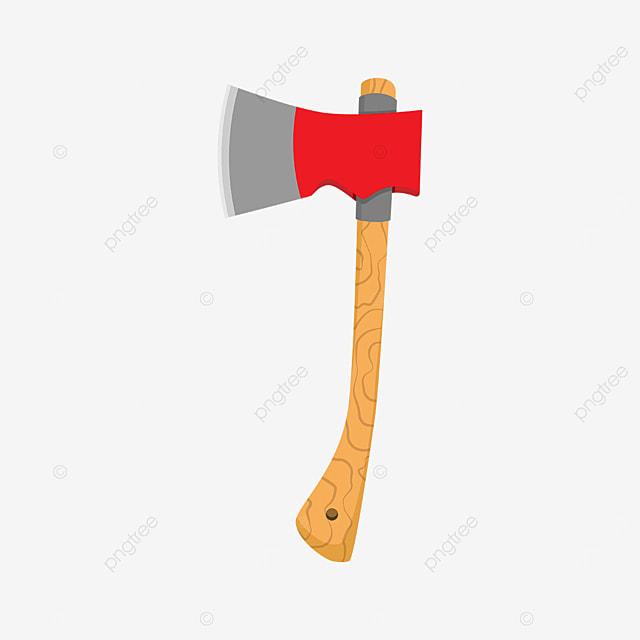 red sharp axe clipart