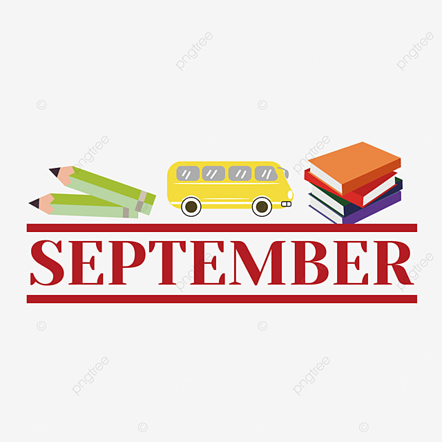 school bus books and pencil illustration september clipart svg