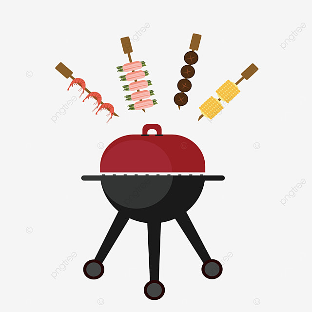 skewers and grill barbecue clipart