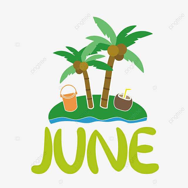 small island and coconut tree decoration june clipart svg