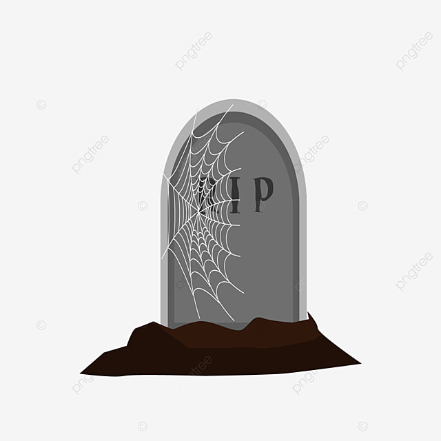 tombstone with spider web on front clipart
