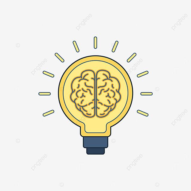 yellow light bulb brain innovation clipart