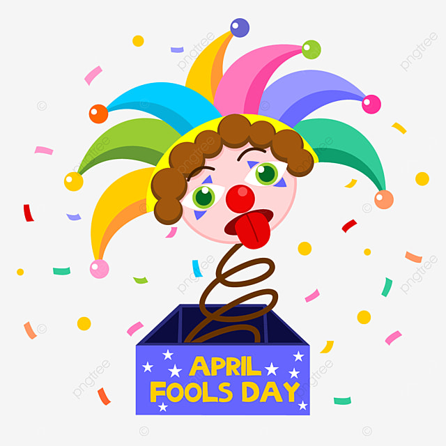 april fools day clown toy box with tongue out