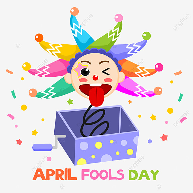 funny april fools day clown toy box