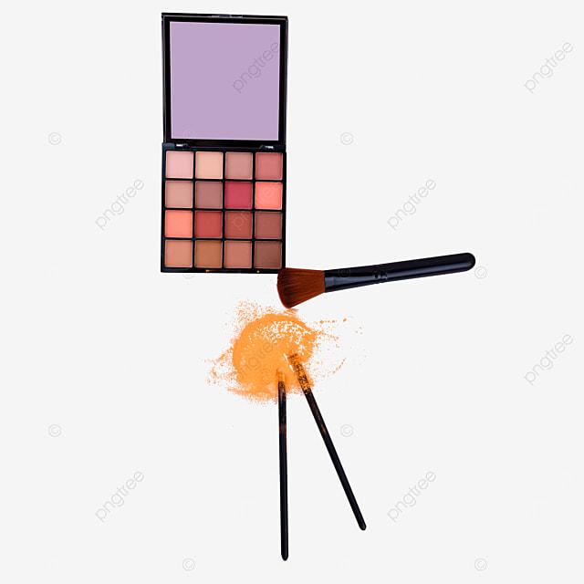 earth colored eyeshadow box and yellow makeup brush