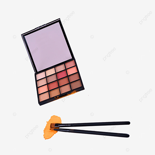 two short haired makeup brushes and eyeshadow palette