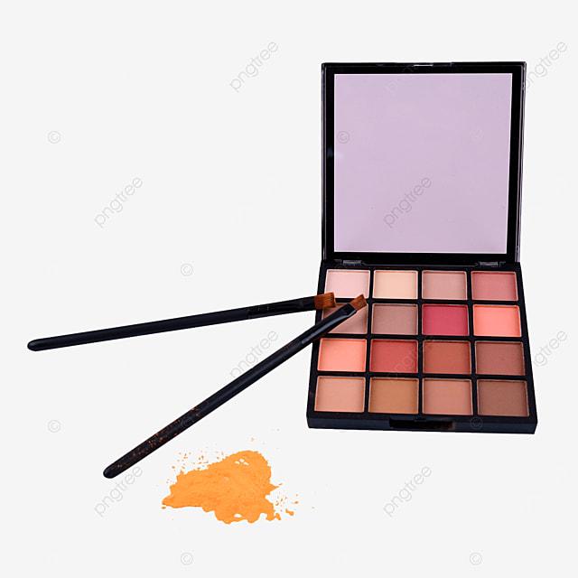 yellow eyeshadow powder and makeup brush