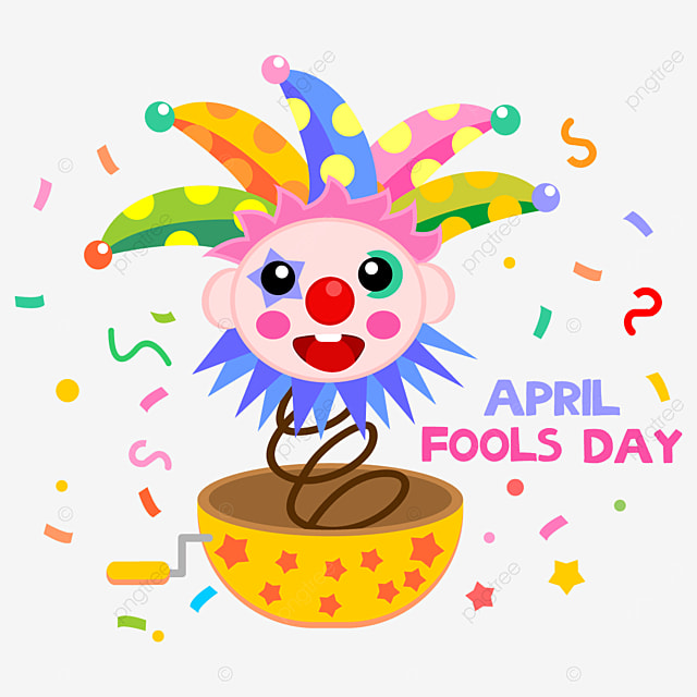 april fools day clown toy box with colorful polka dot hat