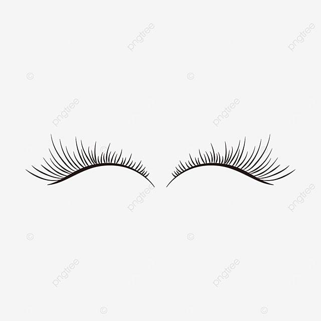 black simple slender eyelashes clipart
