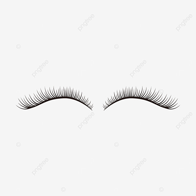 black slender makeup eyelashes clipart