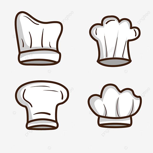 cartoon white stroke chef hat clipart