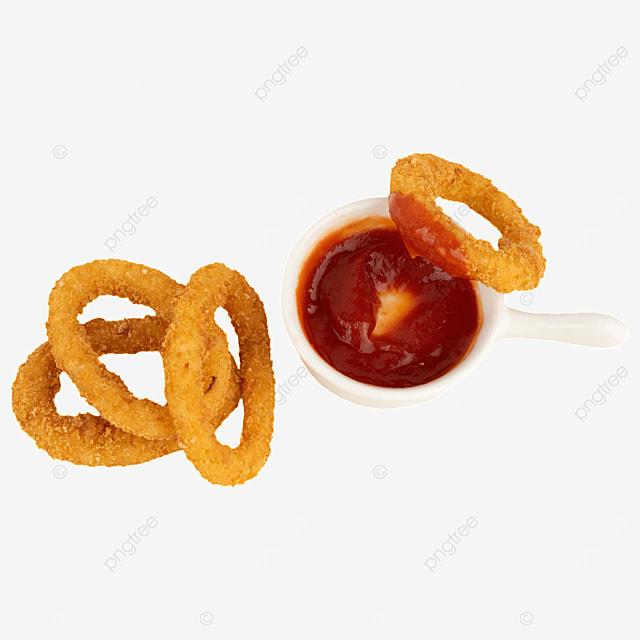 fried food ketchup food onion rings