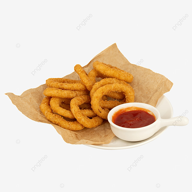 fried food ketchup onion rings