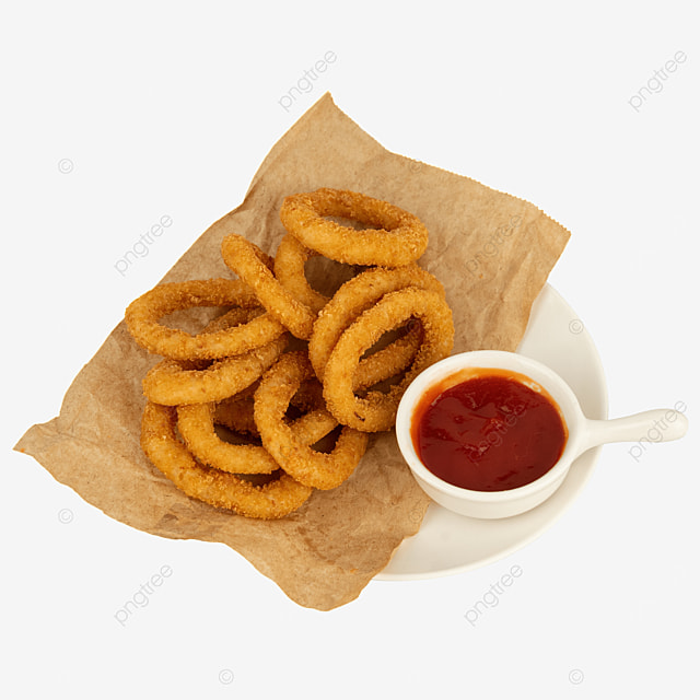fried food onion rings ketchup