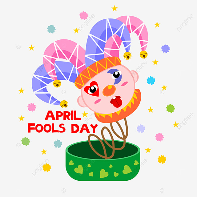 line pattern of april foolss day clown toy box