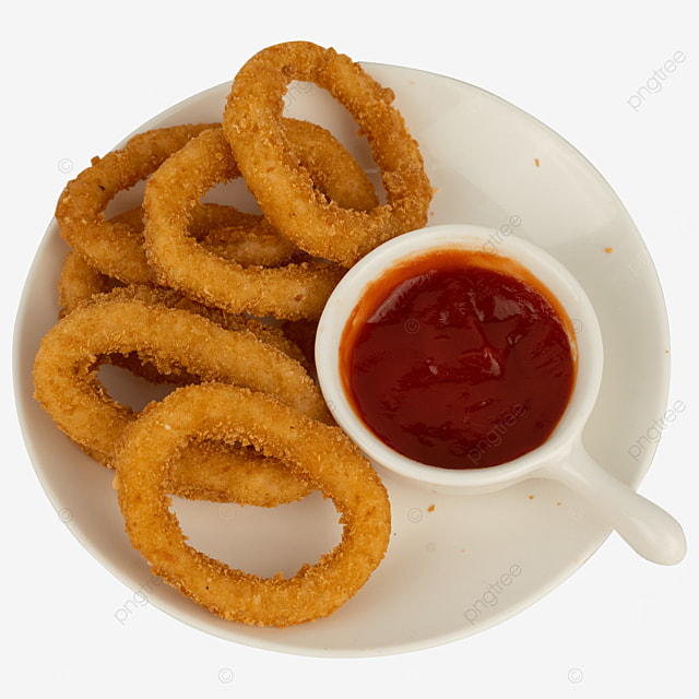 onion ring fried stuffed tomato sauce food
