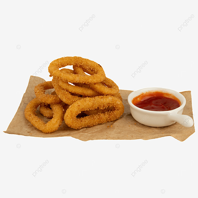 onion rings fried food ketchup