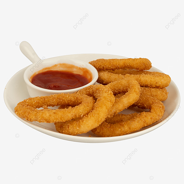 onion rings ketchup fried food