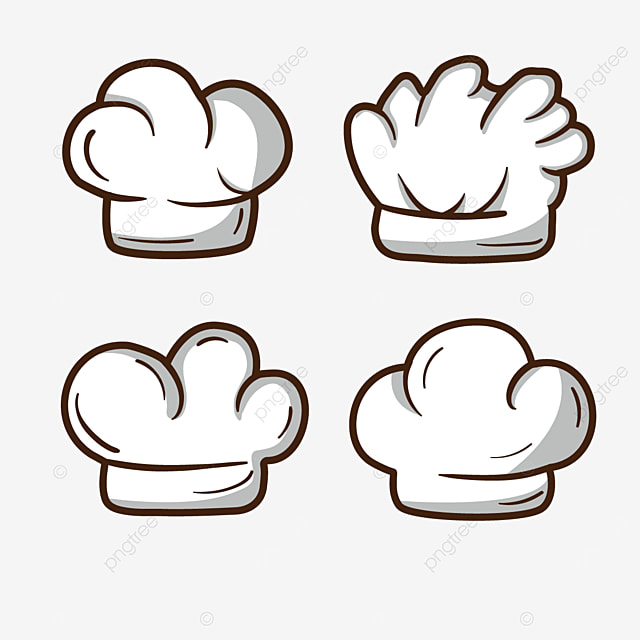 white shaded stroke chef hat clipart