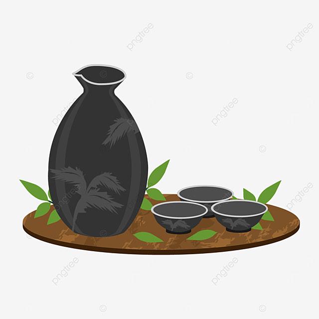 black sake bottle and cup