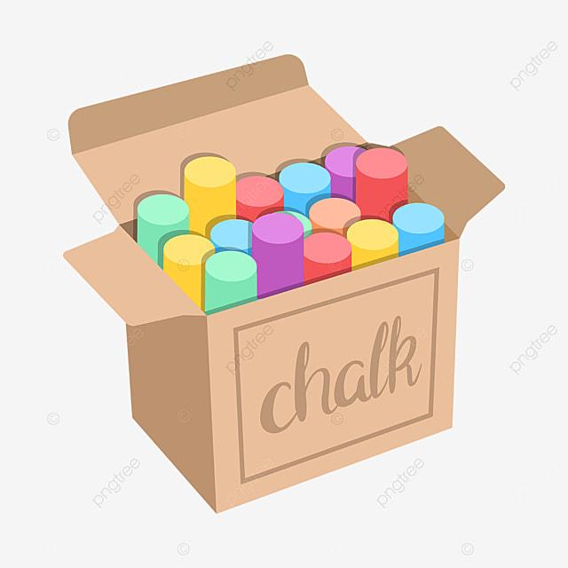 chalk box colorful chalk clipart