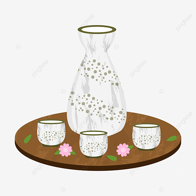 delicate off white sake with green dot pattern