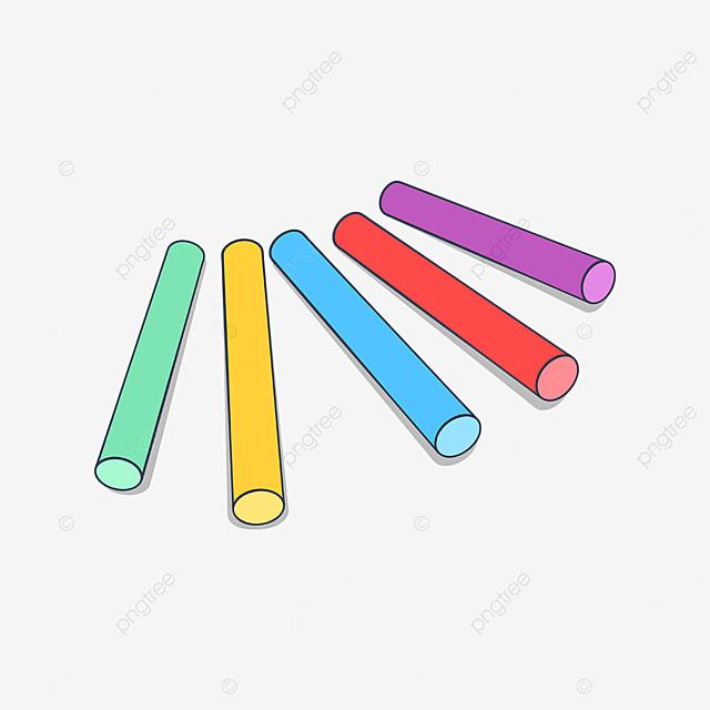 five colored chalks clipart