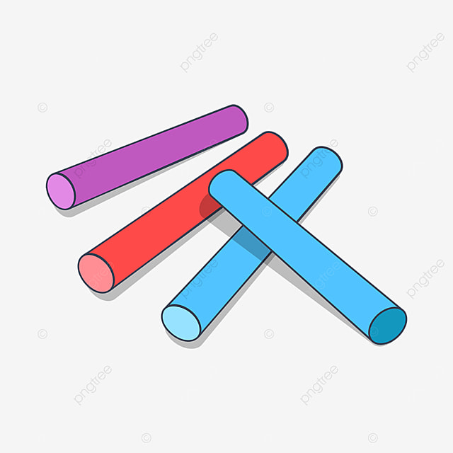 four colored chalks clipart