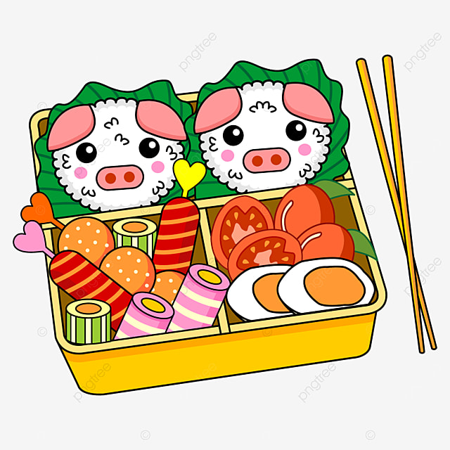 japanese cute lunch box of piglet rice balls