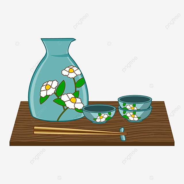 japanese sake with blue and white flower pattern