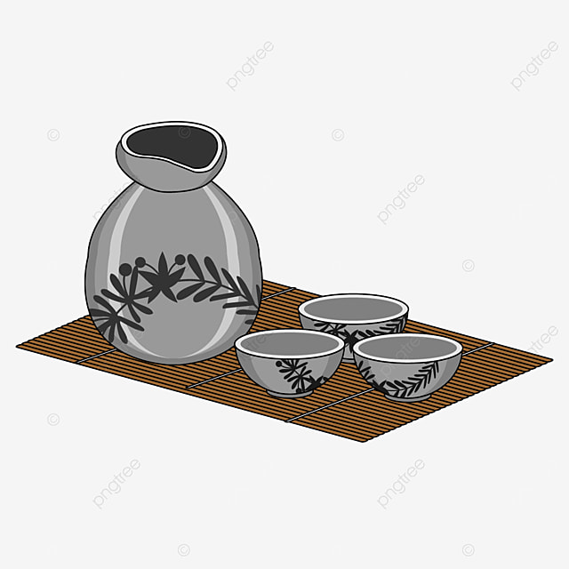 japanese sake with gray and black grass pattern