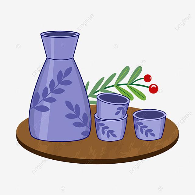 japanese sake with purple leaf pattern